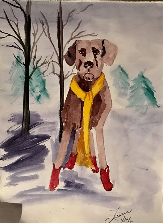 At the bark park in red booties - Spiritual Art by Laurie
