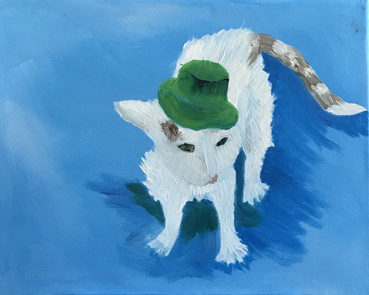 Cat in a Hat - Spiritual Art by Laurie