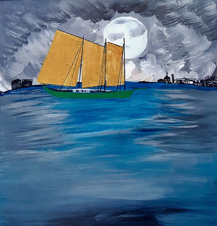 Sail Boat - Spiritual Art by Laurie
