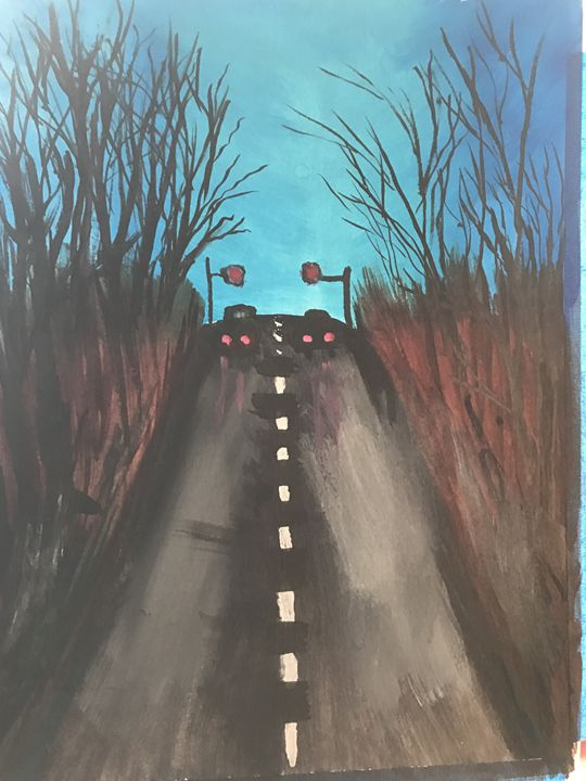 Cars on one way road at night - Spiritual Art by Laurie