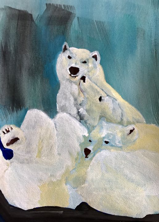 Polar Bear family - Spiritual Art by Laurie