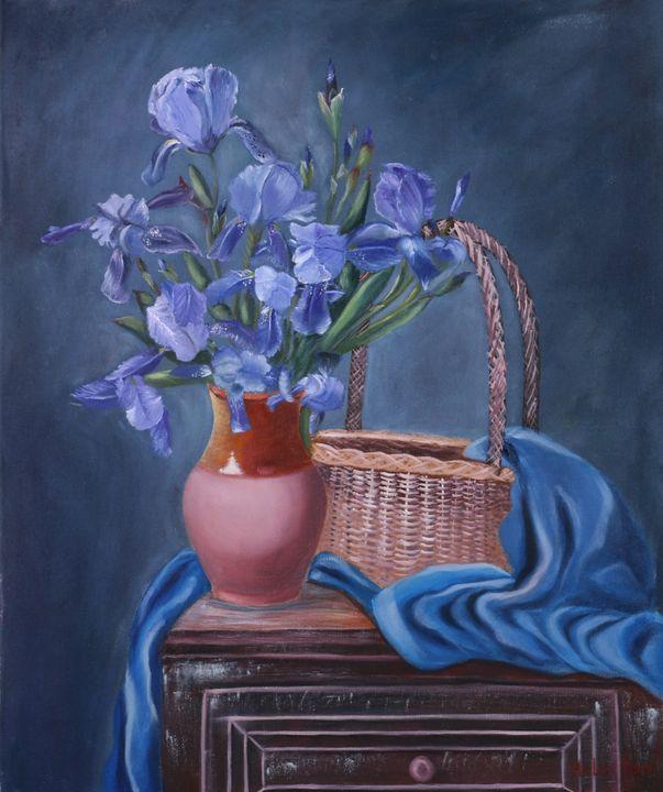 Bouquet of Irises In a Vase - Helen Berk artwork