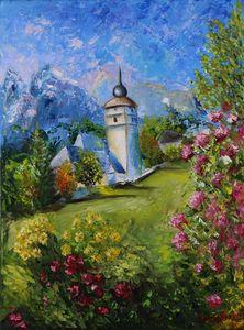Landscape Painting Switzerland Maunt