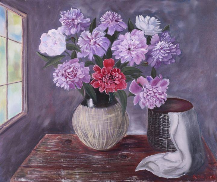 Bouquet of Peonies In a Vase - Helen Berk artwork