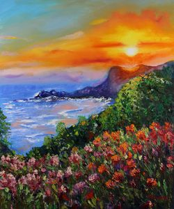 Sunset at Sea Painting Original Oil