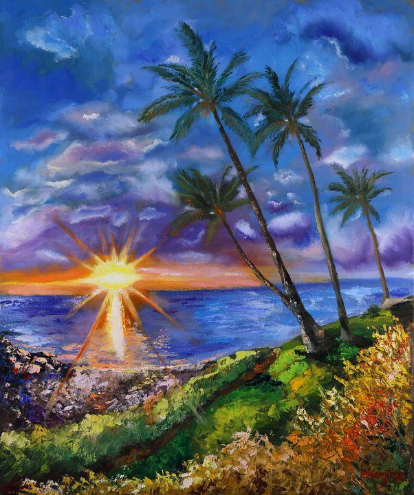 Hawaii Painting Sunset Original Oil - Helen Berk artwork