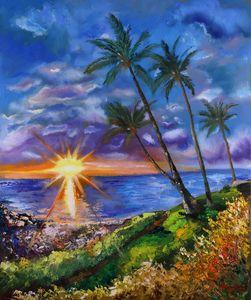 Hawaii Painting Sunset Original Oil