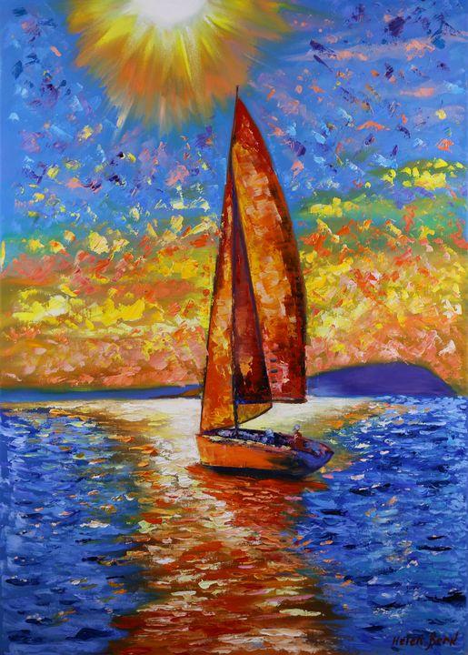 Yacht Painting Sailboat Sunset - Helen Berk artwork
