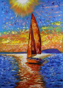 Yacht Painting Sailboat Sunset