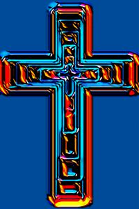Blue and Fire Red Abstract Cross