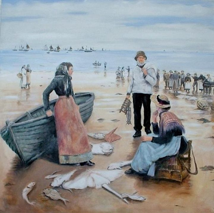 FISH SALE ON A CORNISH BEACH. - Pam's Art