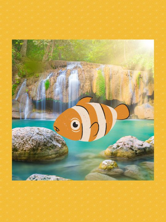 Natural water spring with fish - Super art
