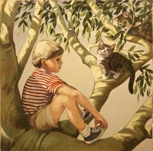 Boy in Tree with Cats