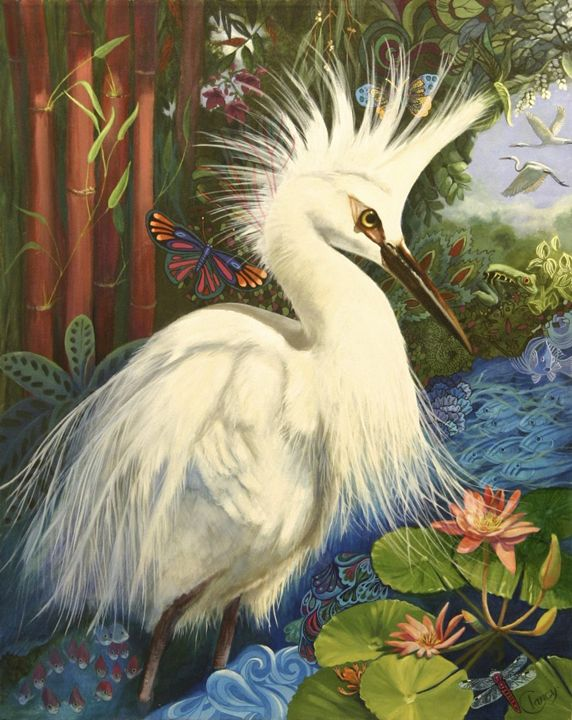 Snowy Egret - Clancy Cherry  Wildlife Artist