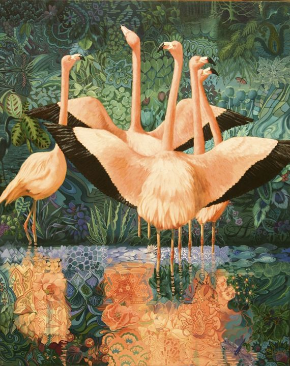 Flamingo Tapestry - Clancy Cherry  Wildlife Artist