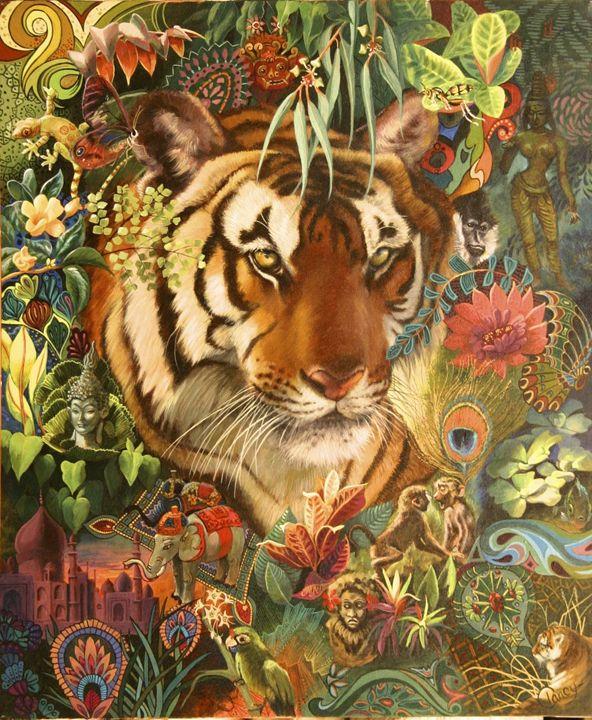 Tiger Tapestry   20x24, 2000, - Clancy Cherry  Wildlife Artist