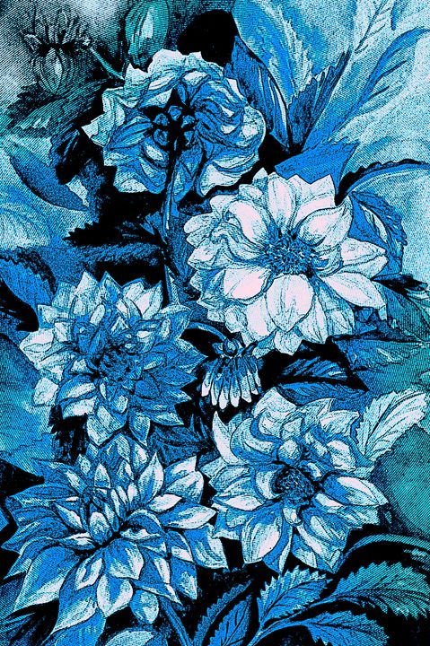 Chrysanthemums in blue - Julia Gogol Art
