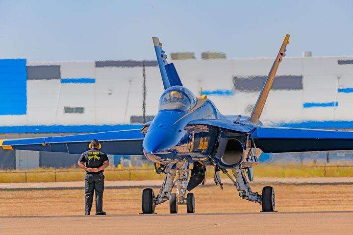 Blue Angel F-18 Hornet on the Tarmac - Jarrett Art