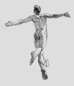 Sketch of a male nude.