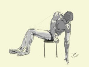Sketch of a sitting male figure.