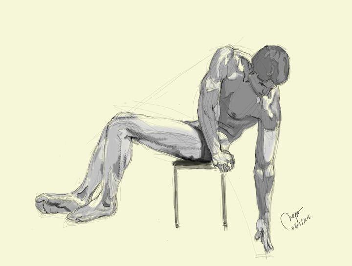 Sketch of a sitting male figure. - BMArt