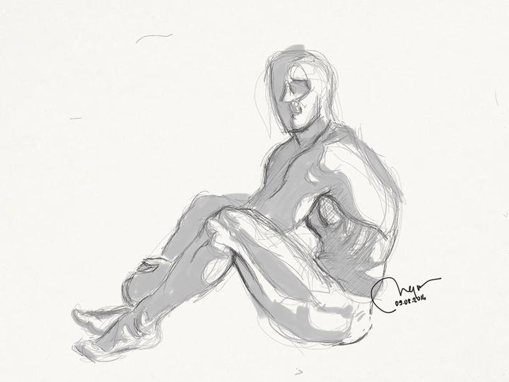 Sketch of a sitting male nude. - BMArt
