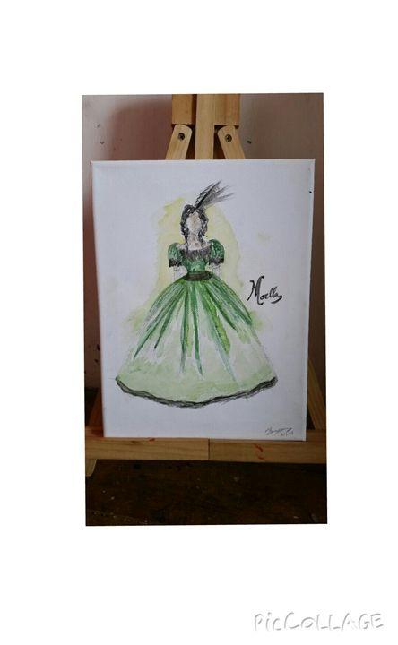 Victorian era evening gown painted - Aria Isadora