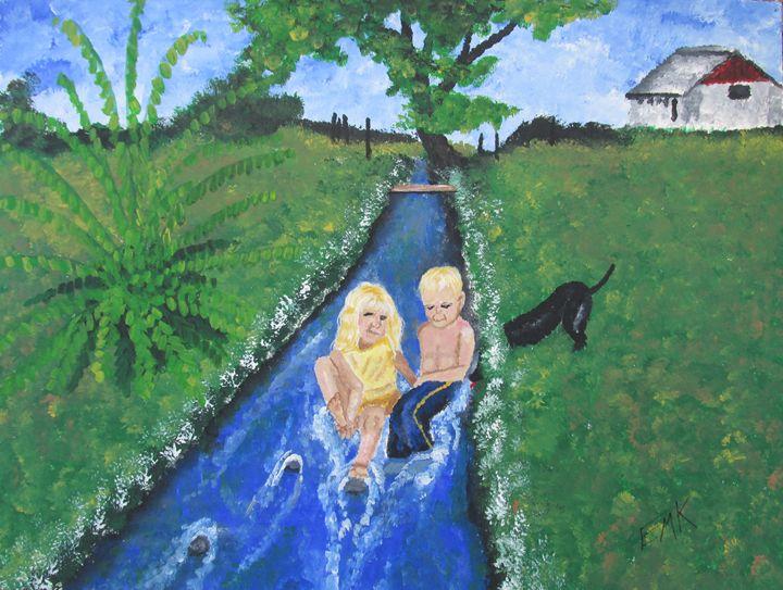 Fun In The Irrigation Ditch - EdieMarie's Art