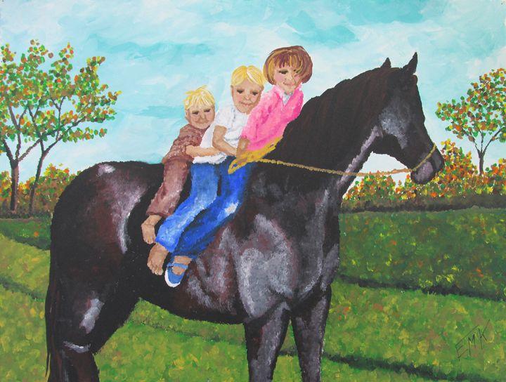 Sharing A Horse Ride - EdieMarie's Art