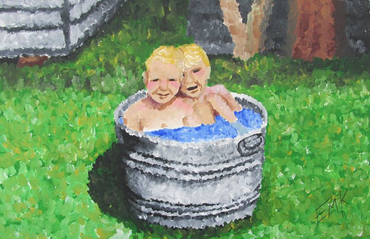 Boys In The Bath - EdieMarie's Art