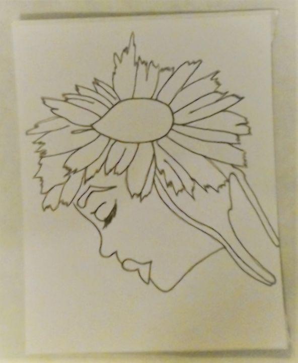 Sunflower Girl Sticker - Bigblueyeseall