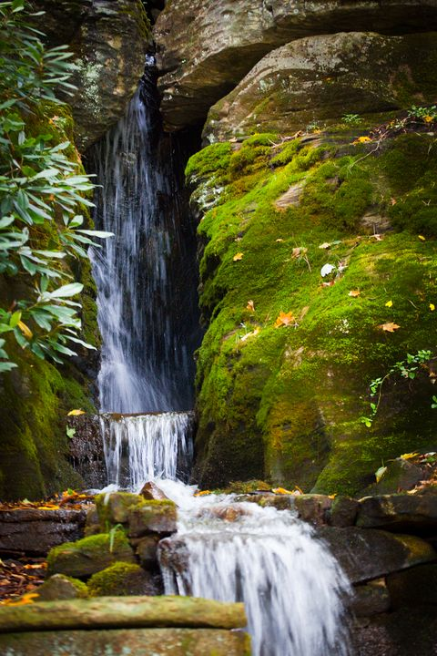 Mossy Rocks and Waterfall in Autumn - Peaceful Prints & Wall Murals