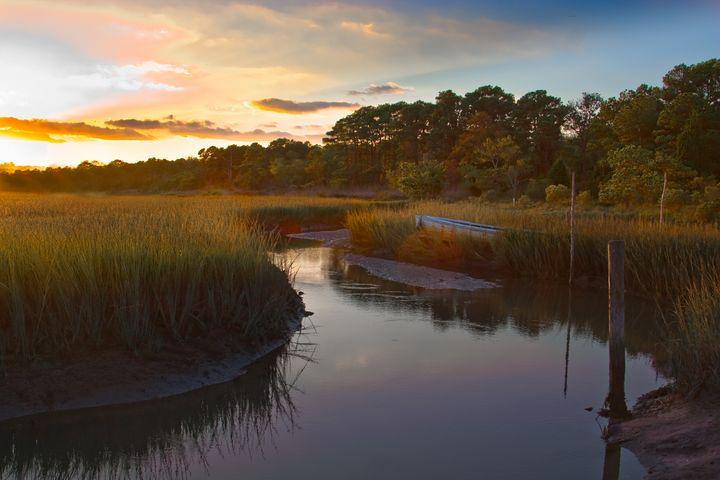 Golden Sunset on Creek & Marsh - Peaceful Prints & Wall Murals