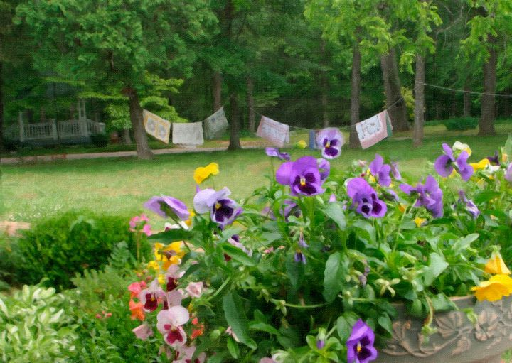 Perky Pansies and Crazy Quilts - Peaceful Prints & Wall Murals