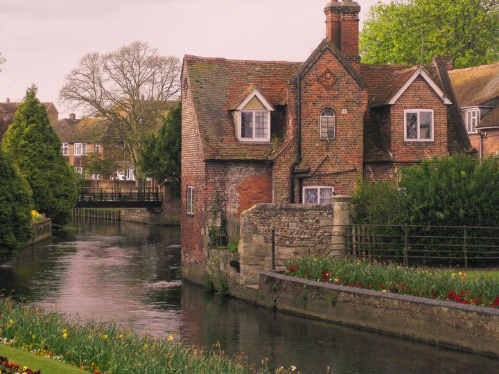 English Houses on River in Spring - Peaceful Prints & Wall Murals