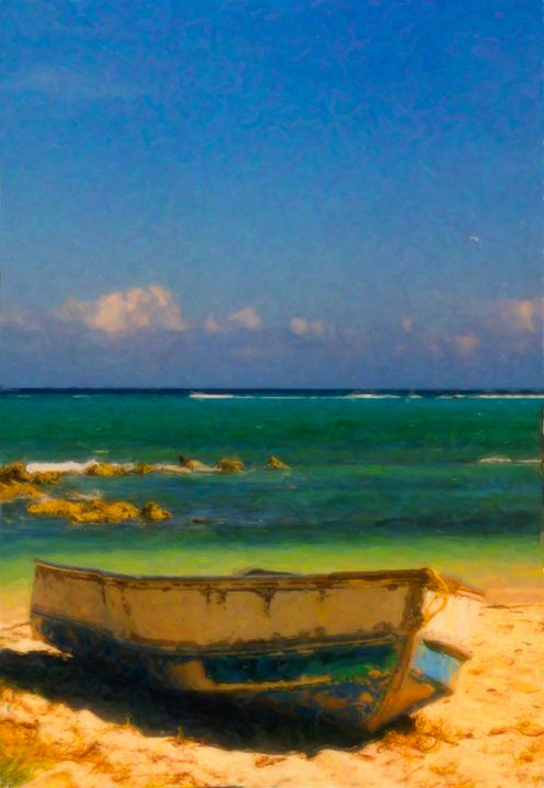 Old Caribbean Wooden Boat on Beach - Peaceful Prints & Wall Murals