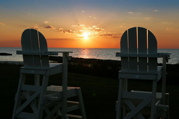 Tall Beach Chairs and Bay Sunset - Peaceful Prints & Wall Murals