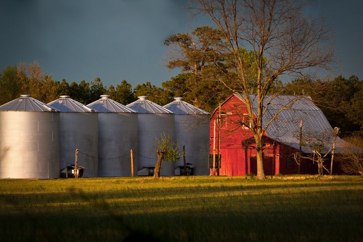 Sunset on Silos and Red Barn - Peaceful Prints & Wall Murals