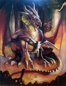 """The Brood"" Red Dragon oil painting"