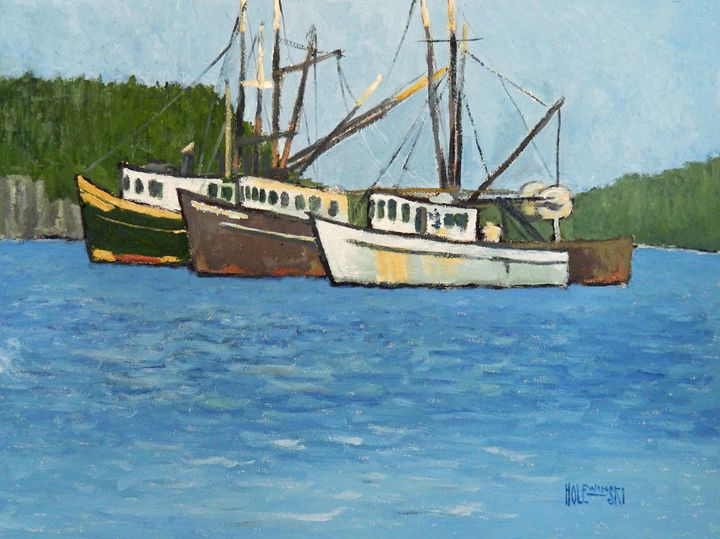 Three Boats on the Manasquan - Holewinski