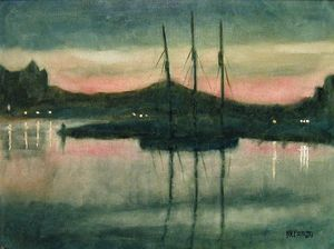 Evening Victoria Harbor    [SOLD]