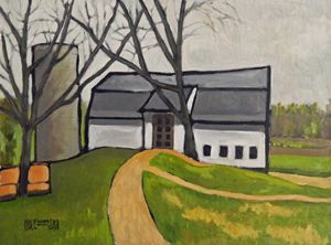 Barn with Two Trees - Holewinski