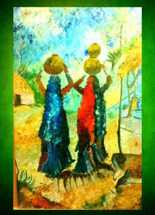 Two Ladies in Village - Shah paintings