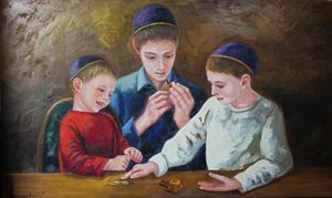 The boys playing in chanuka