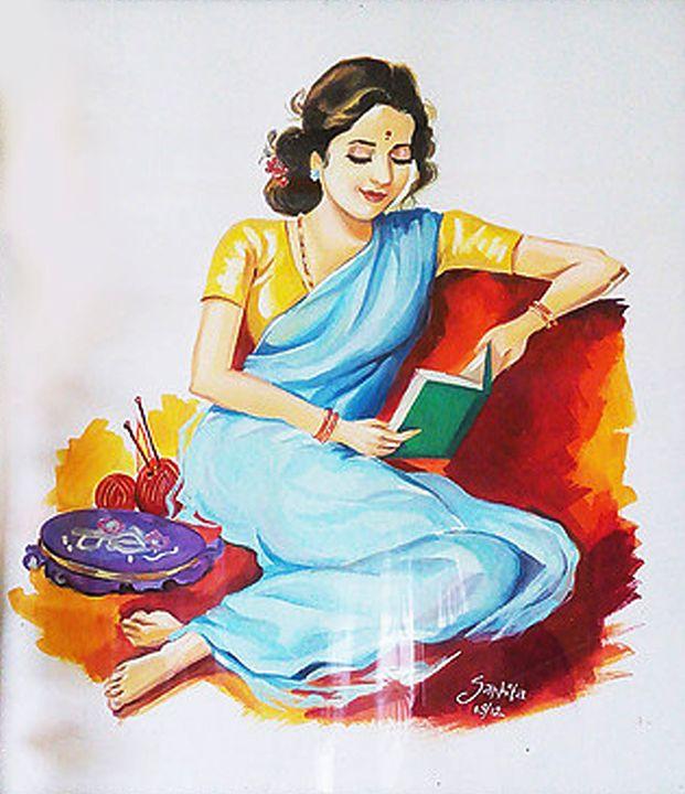 lady reading book - Sanhita Ranjolkar
