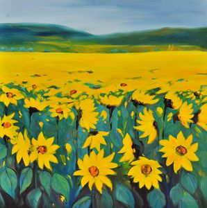 Sunflower Revelry 36h x 36w