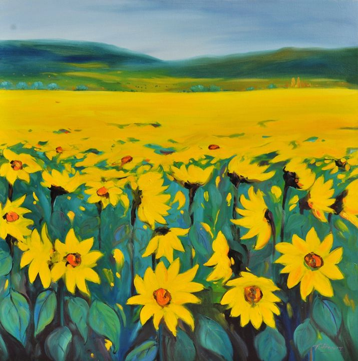 Sunflower Revelry 36h x 36w - Tim Howe