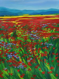 Purple In Red Poppies