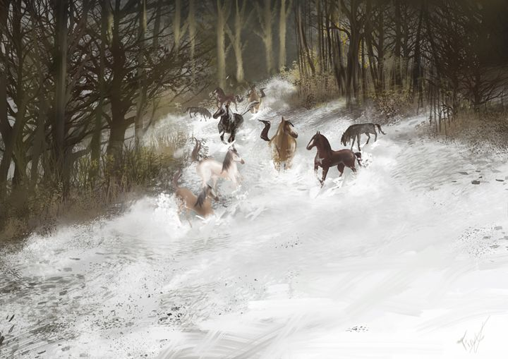 Horse wtih forest - regina.L