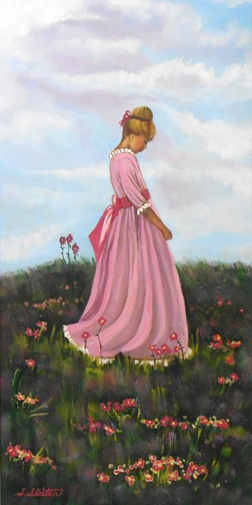 Young Girl in Field of Flowers - Sharon Slater